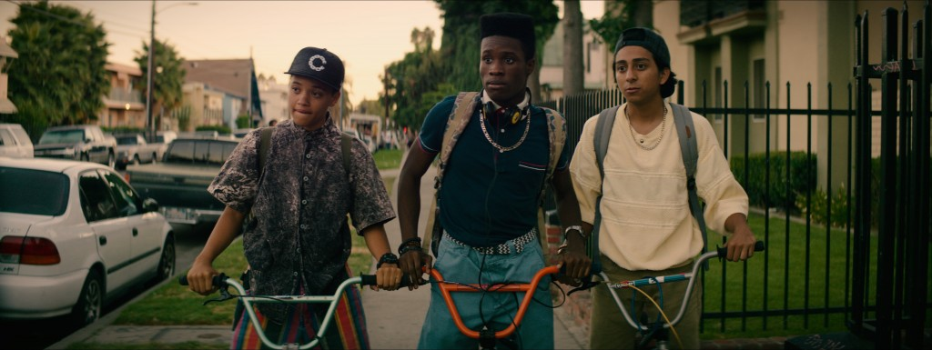 (Left to right) Kiersey Clemons as Diggy, Shameik Moore as Malcolm, and Tony Revolori as Jib in DOPE, opening June 19th, 2015. Photo credit:Rachel Morrison / Distributor: Open Road Films