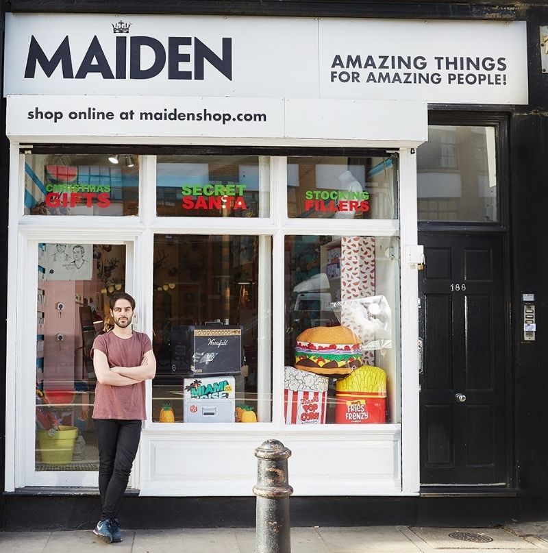Noah Crutchfield stands in front of his fun-filled store, Maiden -  http://www.maidenshop.com/