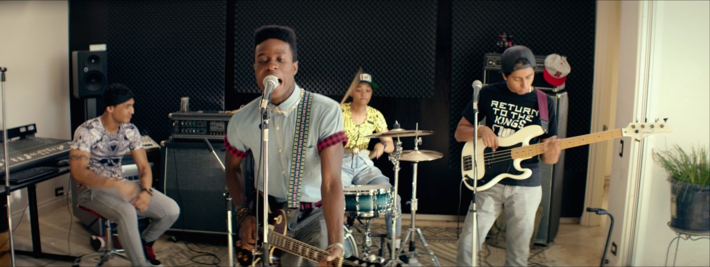(Left to right) Quincy Brown as Jaleel, Shameik Moore as Malcolm, Kiersey Clemons as Diggy, and Tony Revolori as Jib in DOPE, opening June 19, 2015. Photo credit: Rachel Morrison / Distributor: Open Road Films