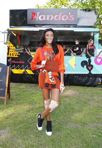Winnie Harlow was spotted enjoying a feast of PERi-PERi chicken backstage at Wireless festival in Finsbury Park, London