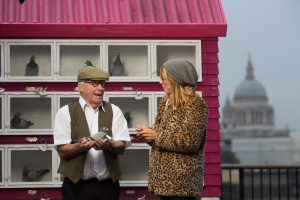 EDITORIAL USE ONLY Carrier pigeons prepare to deliver messages to Londoners on behalf of passers-by who've run out of mobile data, at Observation Point on South Bank, as research compiled by Plusnet Mobile reveals that more than half of the British public admit they feel anxious without mobile data and are gripped with a Fear of No Data (FOND). PRESS ASSOCIATION Photo. Picture date: Monday November 14, 2016. Photo credit: David Parry/PA Wire