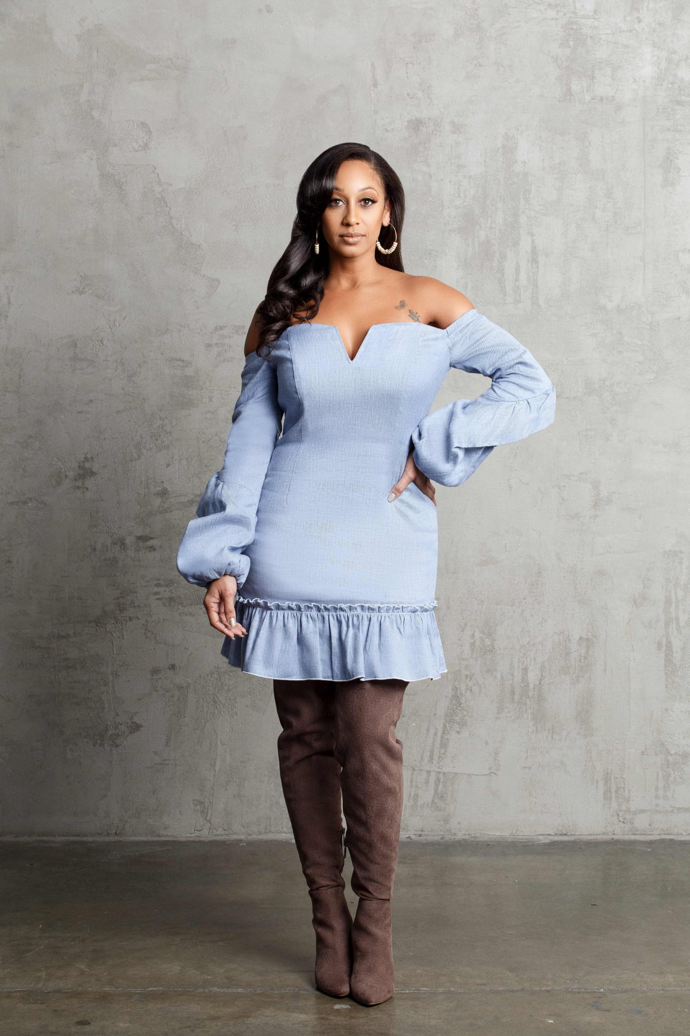 Look 1: Denim Dress Dress: n/Nicholas Boots: Charles by Charles David Earrings: Love and Mercy