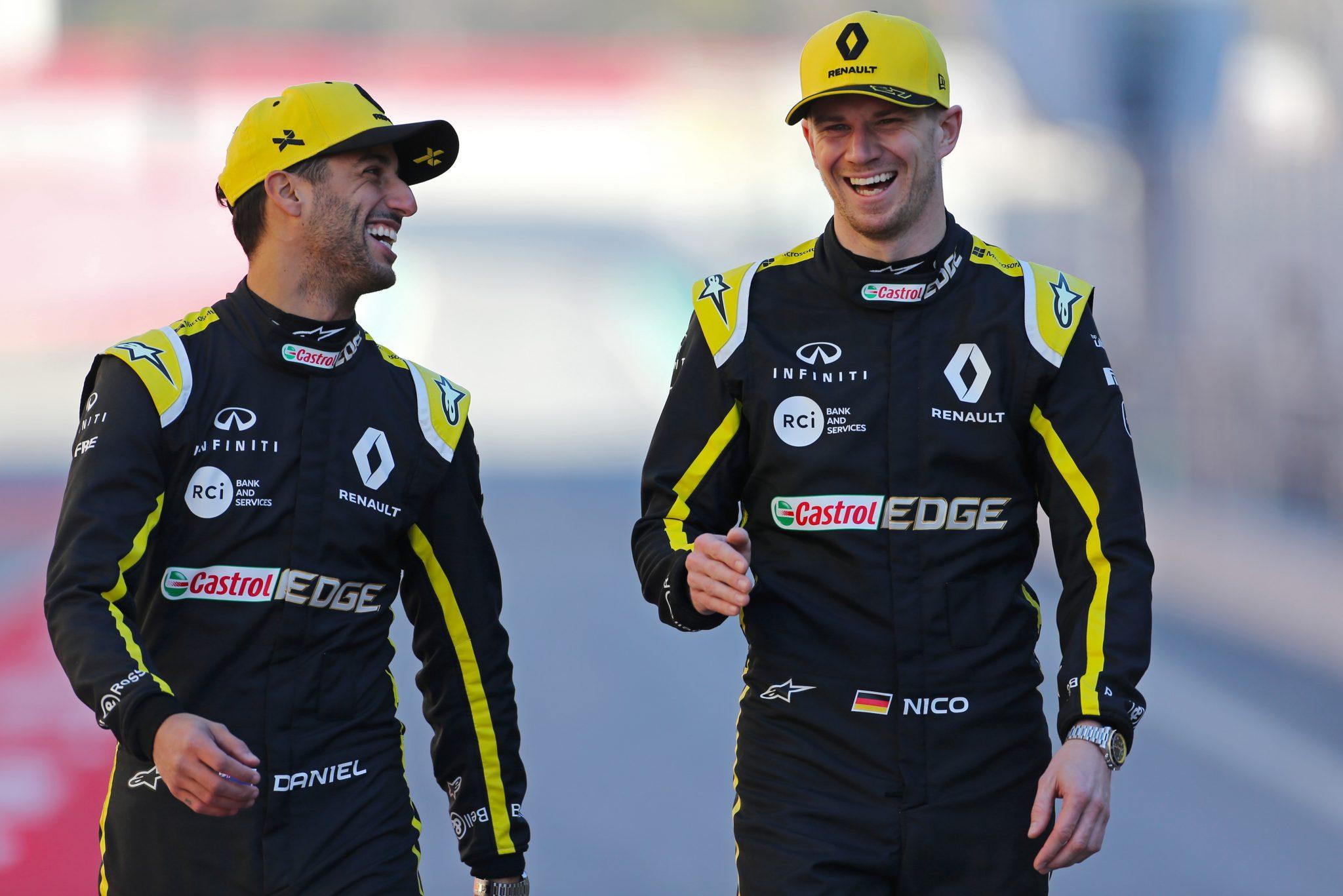 (L to R): Daniel Ricciardo (AUS) Renault Sport F1 Team with Nico Hulkenberg (GER) Renault Sport F1 Team.