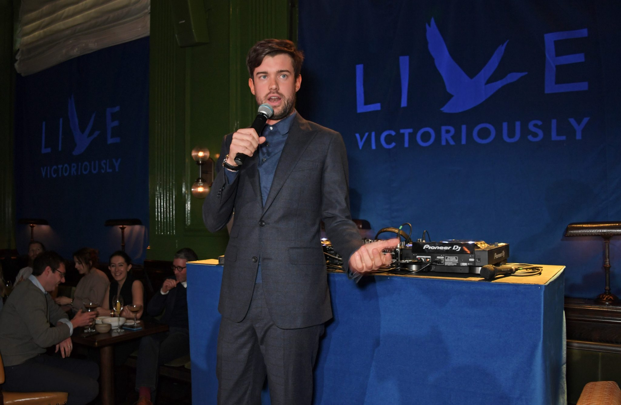 LONDON, ENGLAND - APRIL 16:  Jack Whitehall performs at the launch of the new GREY GOOSE brand platform 'Live Victoriously' with Clara Amfo, turning an average Tuesday night into an unforgettable memory with surprise performances, at The Wigmore, London on April 16, 2019 in London, England.    Pic Credit: Dave Benett