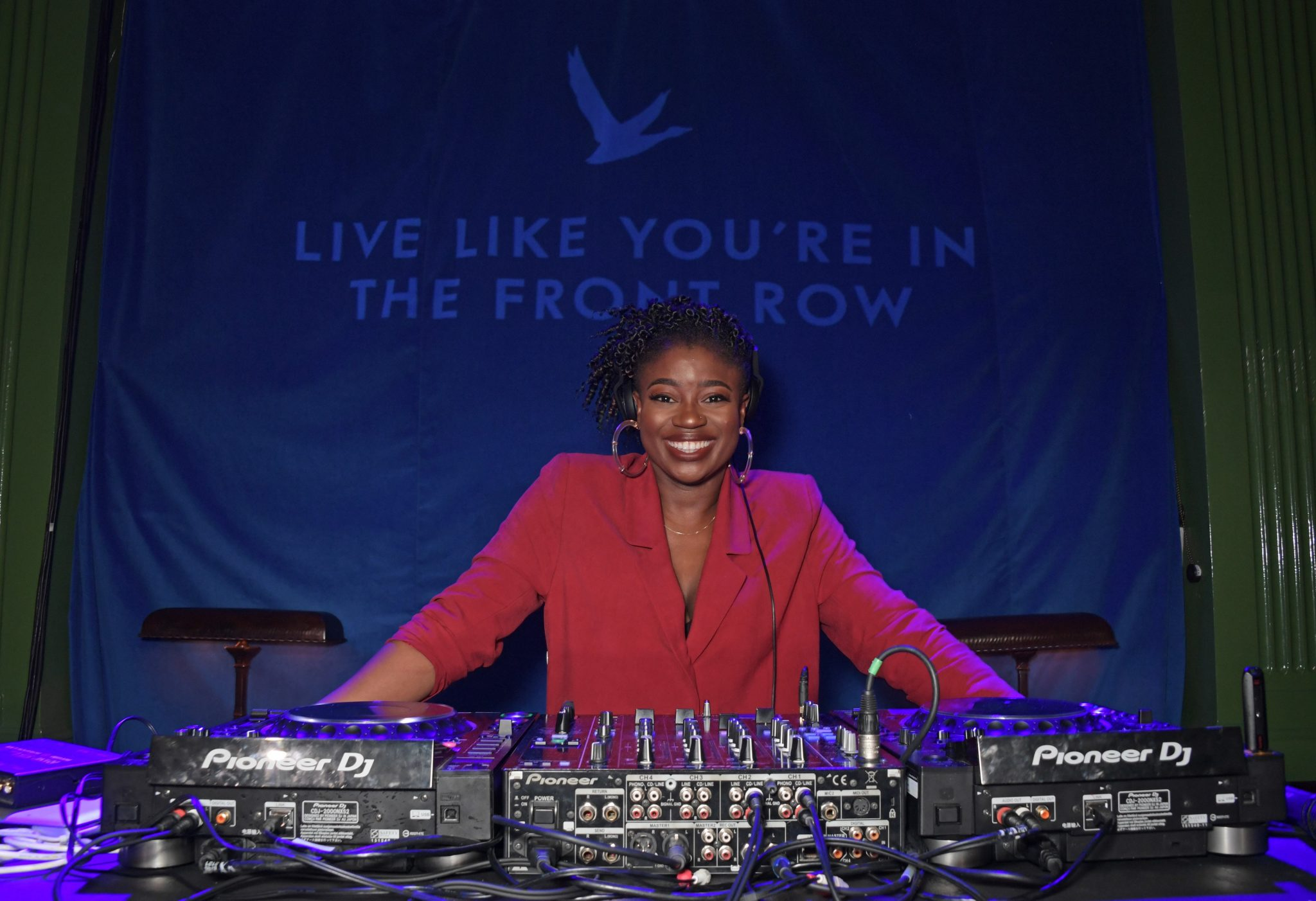 LONDON, ENGLAND - APRIL 16:  Clara Amfo DJs at the launch of the new GREY GOOSE brand platform 'Live Victoriously' with Jack Whitehall, turning an average Tuesday night into an unforgettable memory with surprise performances, at The Wigmore, London on April 16, 2019 in London, England.    Pic Credit: Dave Benett