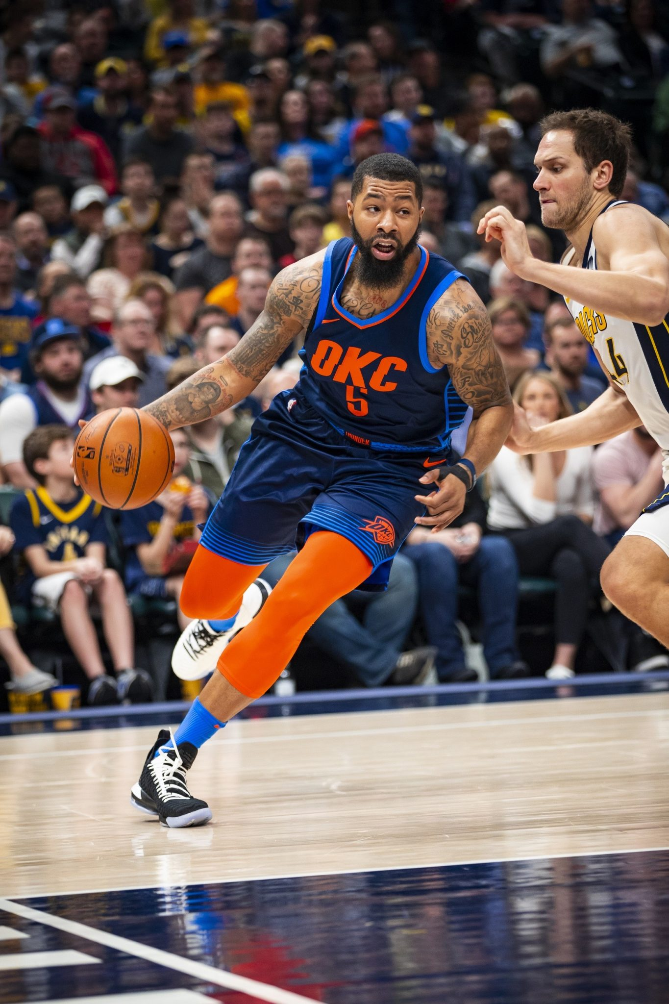 INDIANAPOLIS, IN - MARCH 14:  Markieff Morris #5 of the Oklahoma City Thunder handles the ball against the Indiana Pacers on March 14, 2019 at Bankers Life Fieldhouse in Indianapolis, Indiana. Copyright 2019 NBAE (Photo by Zach Beeker/NBAE via Getty Images)