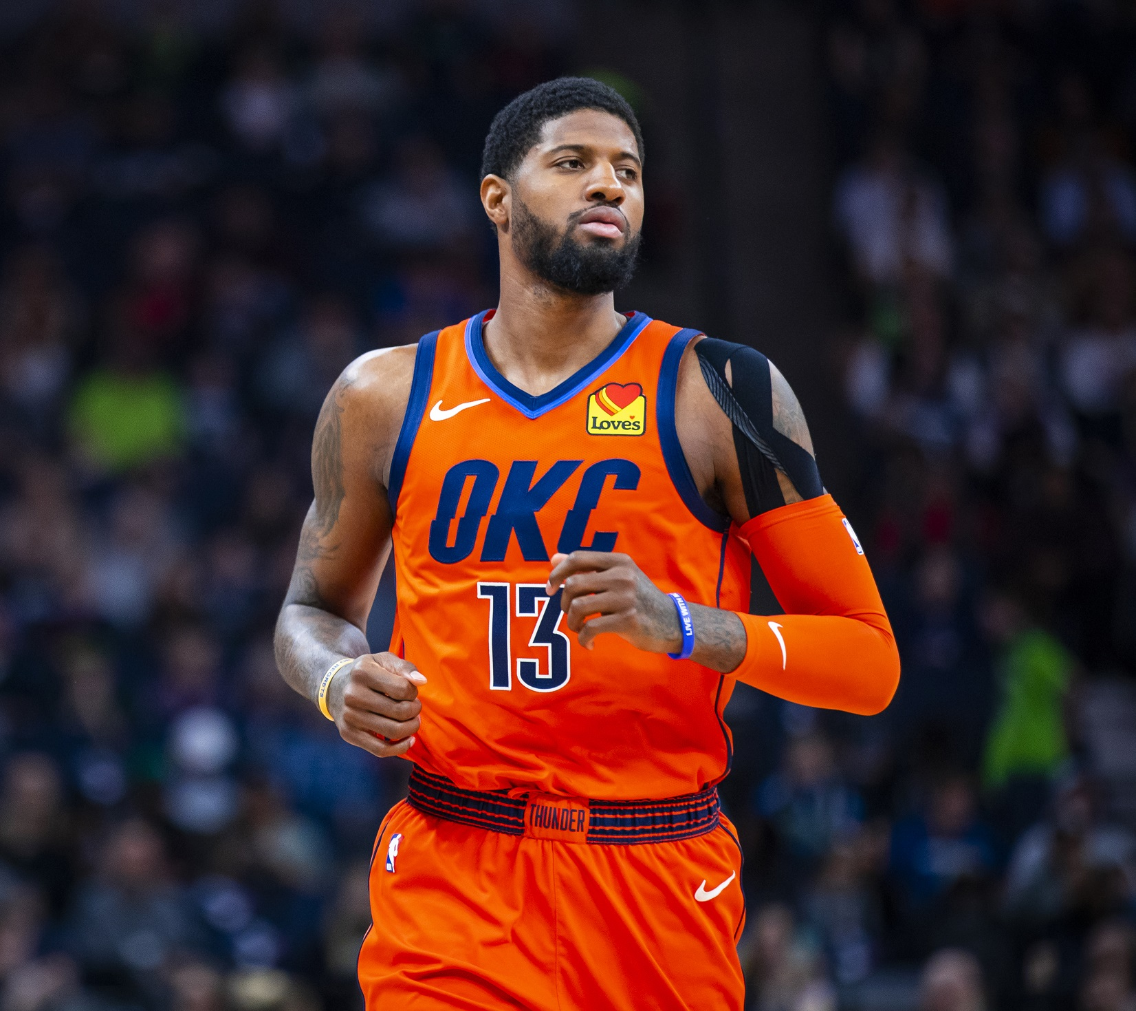 MINNEAPOLIS, MN - APRIL 7: Paul George #13 of the Oklahoma City Thunder looks on during the game against the Minnesota Timberwolves on April 7, 2019 at Target Center in Minneapolis, Minnesota.  Copyright 2019 NBAE (Photo by Zach Beeker/NBAE via Getty Images)