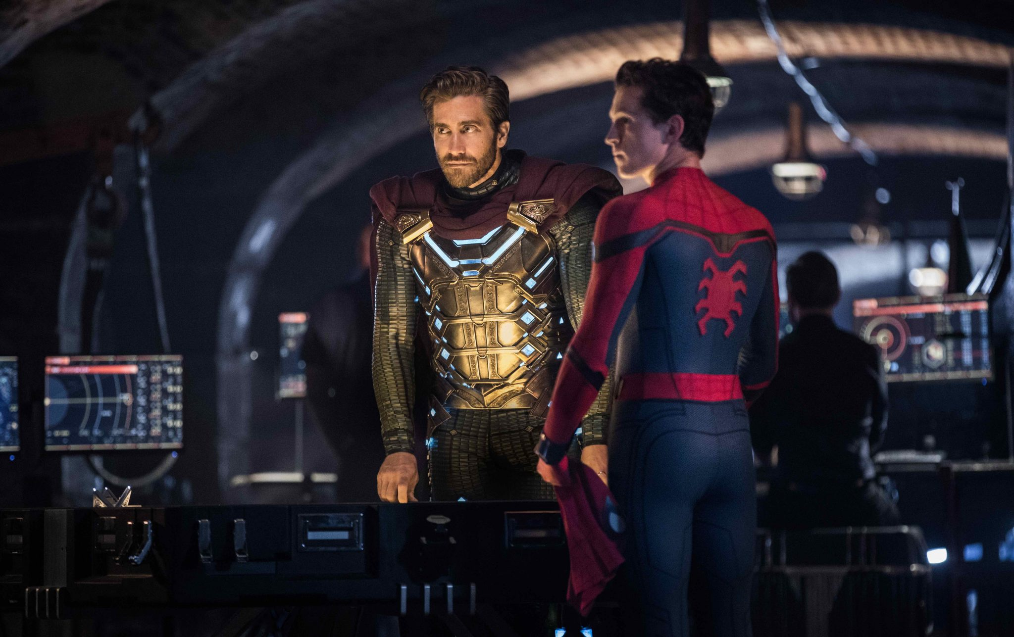 Jake Gyllenhaal and Tom Holland star in Columbia Pictures' SPIDER-MAN: ™ FAR FROM HOME.