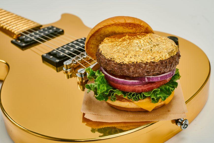 14K Gold Leaf Burger on Gold Guitar