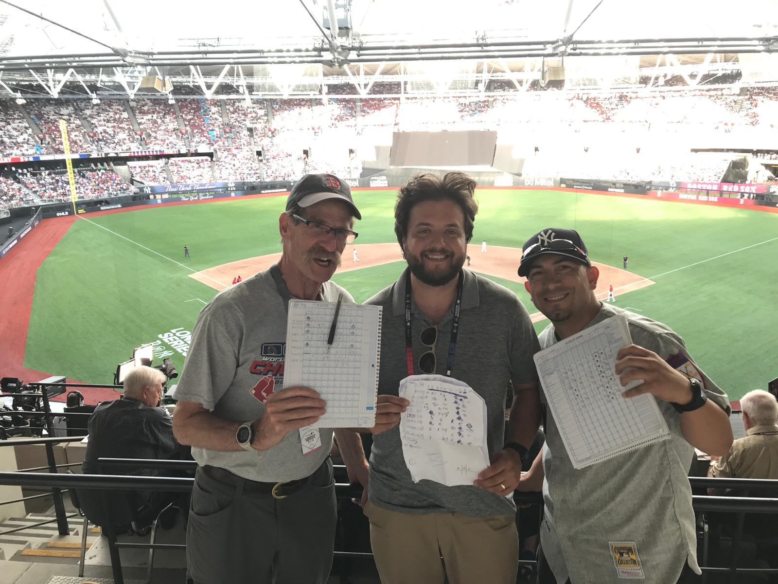 Larry Elswit (L) flew from Boston to keep score while his Red Sox took on their rivals from the Bronx