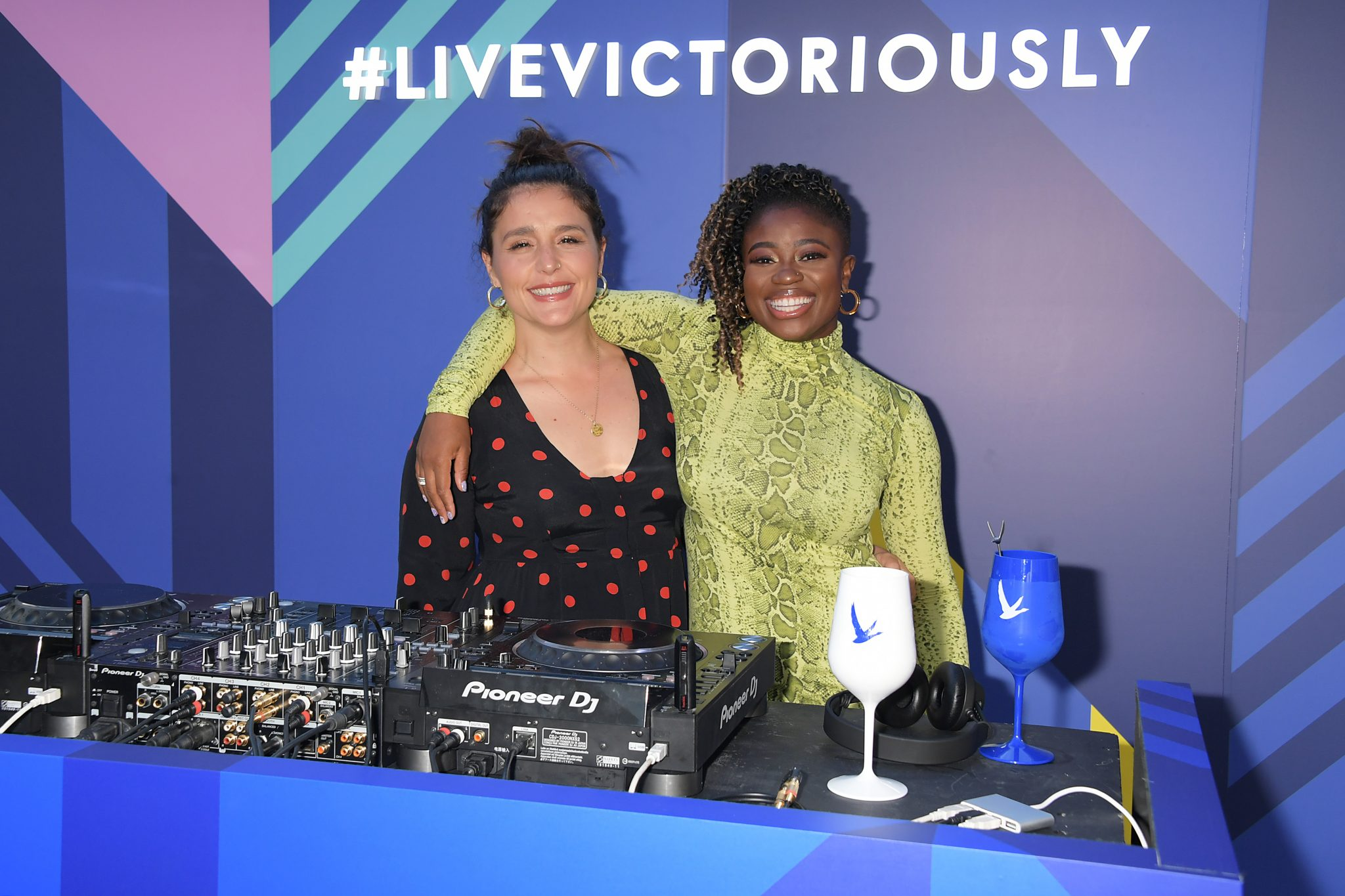 LONDON, ENGLAND - JULY 29:   Jessie Ware and Clara Amfo perform a surprise DJ set at the launch of the 'Live Like Summer Never Ends' Terrace by GREY GOOSE in Covent Garden's East Piazza on July 29, 2019 in London, United Kingdom.   Pic Credit: Dave Benett
