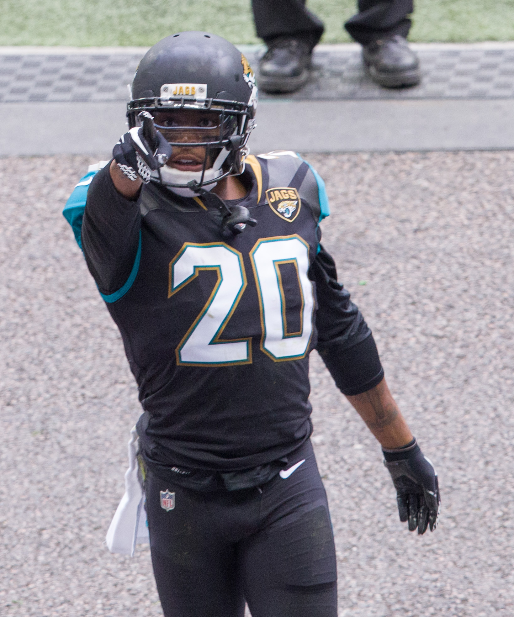Jacksonville Jaguars corner back Jalen Ramsey  (20) points to the fans in the stands following a touchdown. Baltimore Ravens and the Jacksonville Jaguars play in the NFL International Series at Wembley Stadium in London on Sunday, Sep 24 . photo: Dave Shopland/ NFL