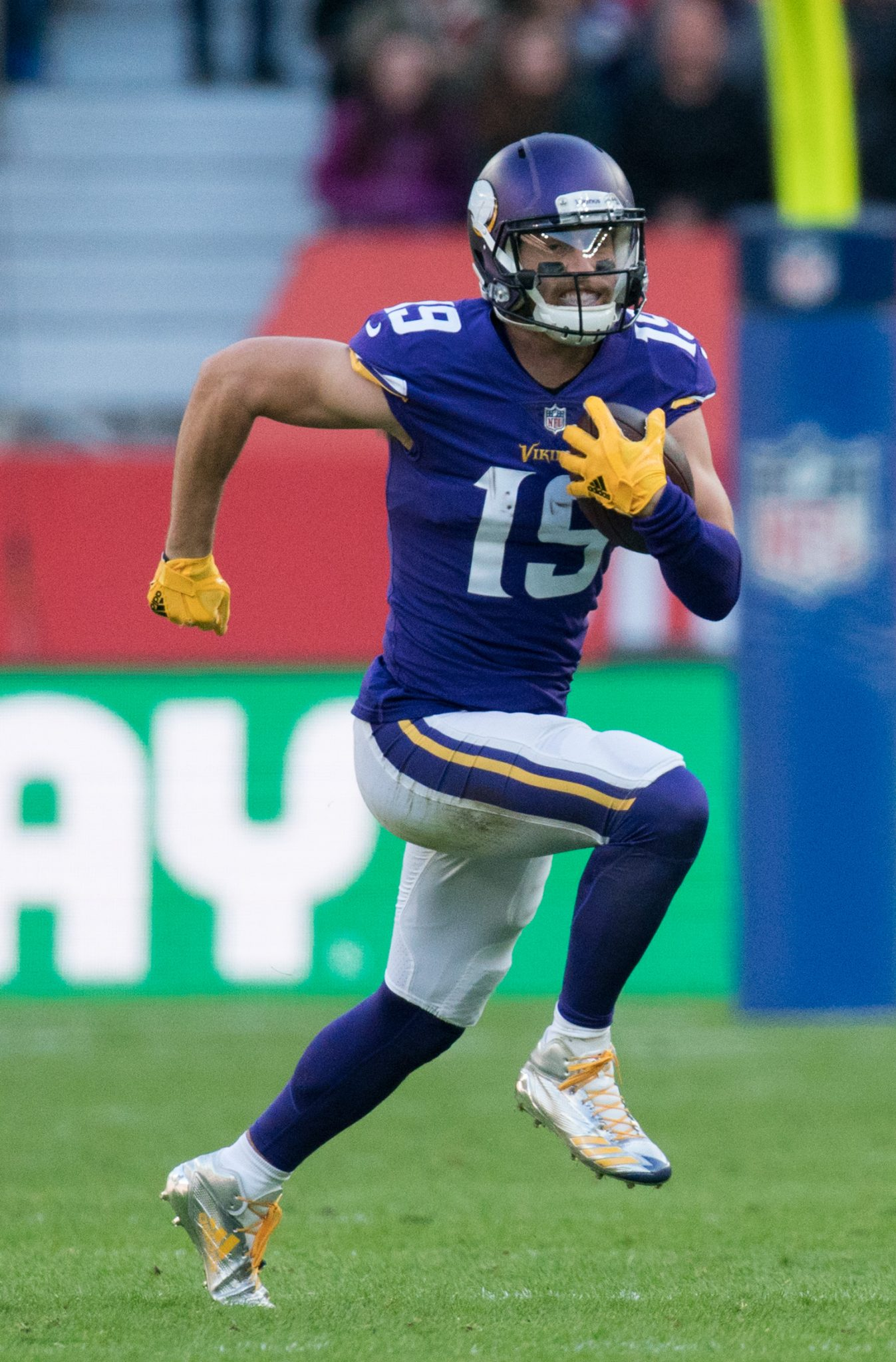 Minnesota Vikings wide receiver Adam Thielen  (19) runs with the ball. Cleveland Browns and the Minnesota Vikings  play in the NFL London Games at Twickenham Stadium in London on Sunday, October 29. photo:Bob MartinNFL