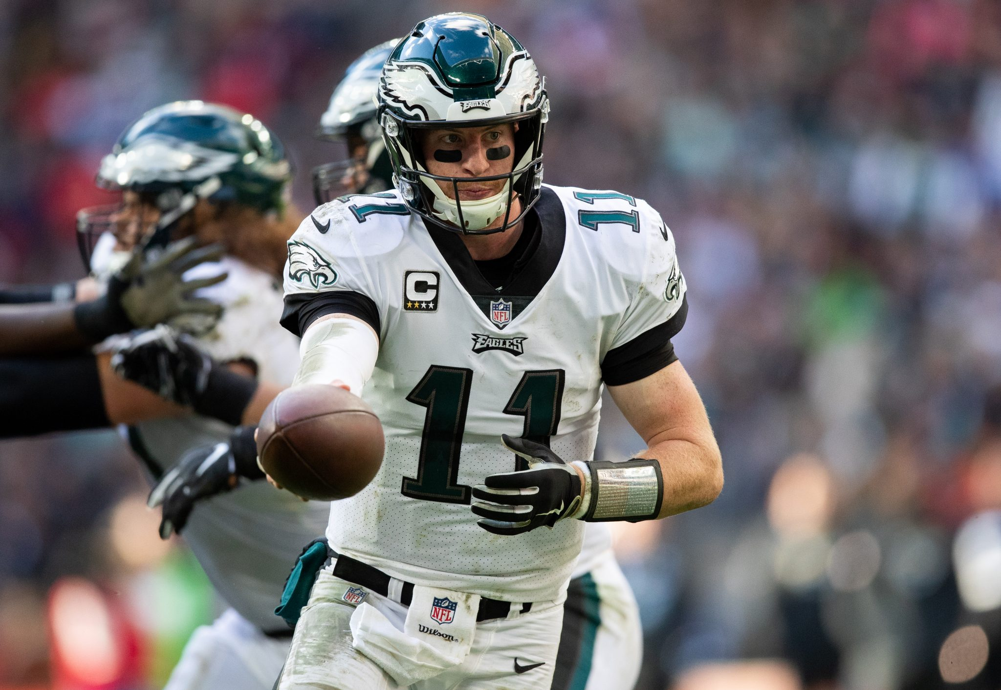 Philadelphia Eagles quarterback Carson Wentz  (11) in action with the ball. Philadelphia Eagles and the Jacksonville Jaguars play in the NFL London Games at Wembley Stadium in London on Sunday, October 28th photo: Jed Leicester/NFL