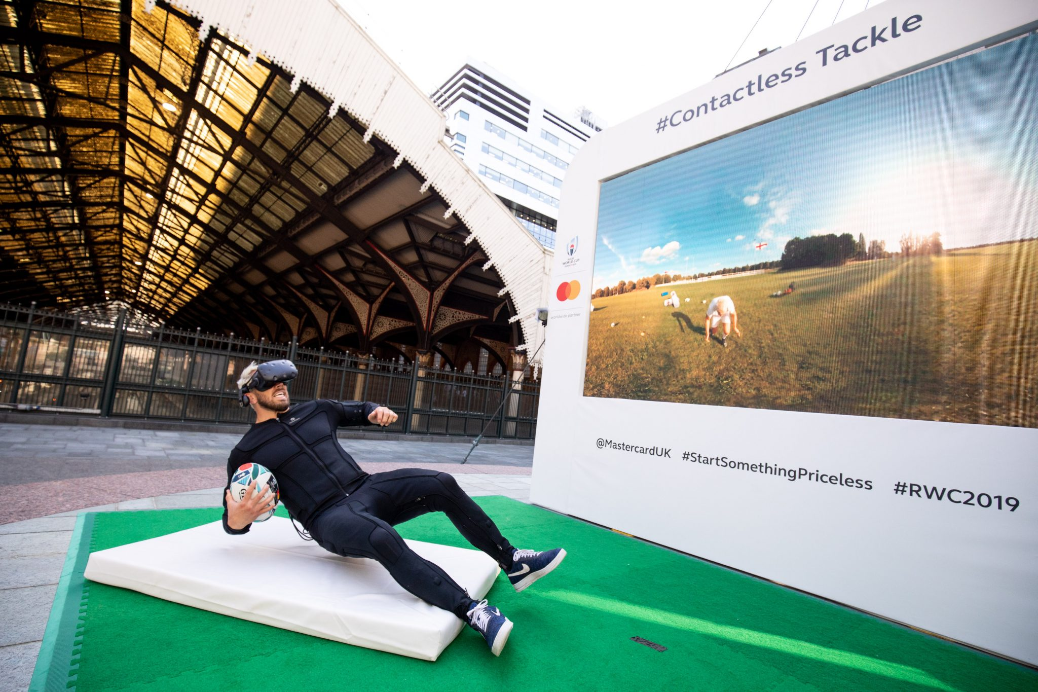 Chris Robshaw  Ahead of the Rugby World Cup 2019, Mastercard unveiled a first of its kind virtual reality (VR) tackle, allowing members of the public to experience the sensation of a professional tackle, using a haptic feedback bodysuit in a virtual reality rugby experience.