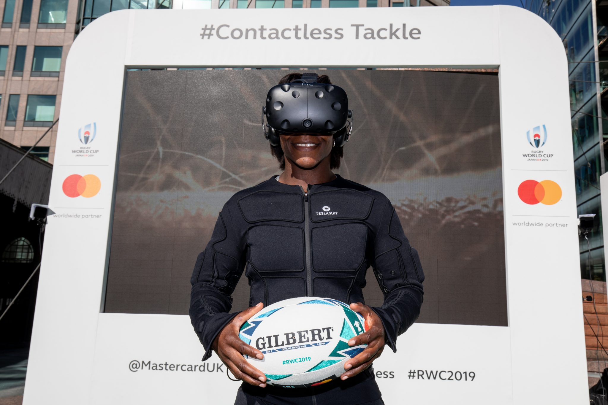 Maggie Alphonsi   Ahead of the Rugby World Cup 2019, Mastercard unveiled a first of its kind virtual reality (VR) tackle, allowing members of the public to experience the sensation of a professional tackle, using a haptic feedback bodysuit in a virtual reality rugby experience.