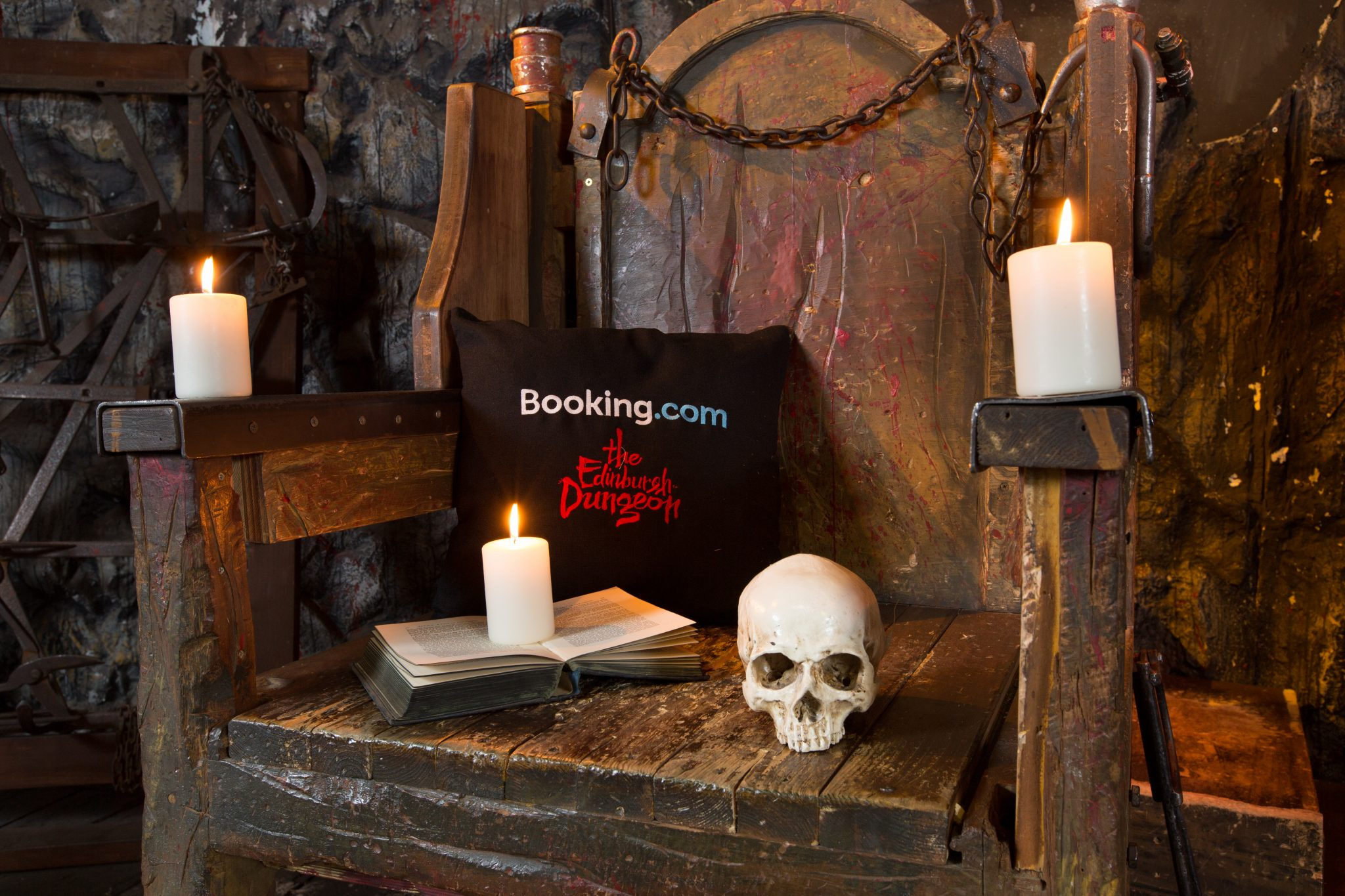 """Booking.com are collaborating with the Edinburgh Dungeon to offer a """"Sceance Sleepover – conjure the dead before going to bed"""" for Halloween, whereby guests will be able to book an exclusive coffin overnight stay at the Dungeons on Booking.com.  The stay will commence with the last Dungeon tour of the day and includes a Sceance session complete with the Dungeon's resident Medium and Ouija board, to conjure spooky goings on with the ghostly White Lady. After the festivities have finished, guests will climb into their Coffin bed for the night. Picture date: Wednesday June 19, 2019.. Photo credit : Robert Perry/PA Wire"""