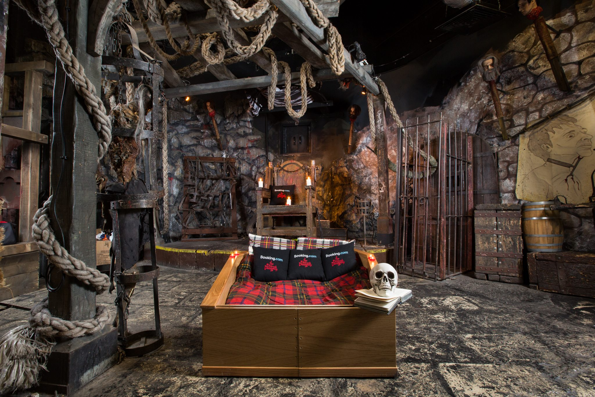 """Booking.com are collaborating with the Edinburgh Dungeon to offer a """"Sceance Sleepover – conjure the dead before going to bed"""" for Halloween, whereby guests will be able to book an exclusive coffin overnight stay at the Dungeons on Booking.com.  The stay will commence with the last Dungeon tour of the day and includes a Sceance session complete with the Dungeon's resident Medium and Ouija board, to conjure spooky goings on with the ghostly White Lady. After the festivities have finished, guests will climb into their Coffin bed for the night..Photo credit : Robert Perry/PA Wire"""
