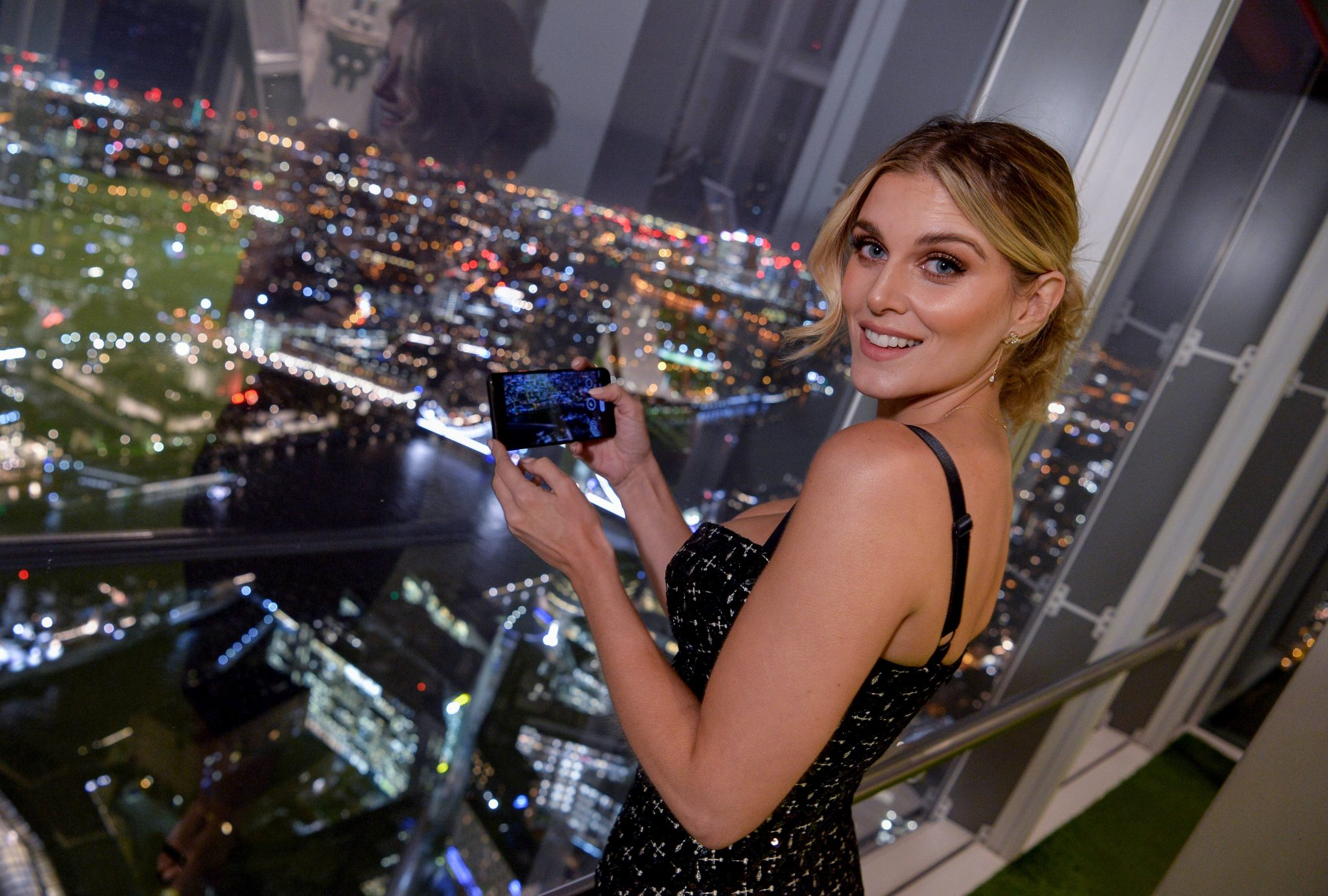 Ashley James attends an astrophotography evening hosted by Google Pixel 4 at the Shard, London. PA Photo. Picture date: Wednesday November 6, 2019. The Shard turned off its lights so guests at the event could get a clear view of the night sky. The Google Pixel 4 launched last month with the new enhanced Night Sight mode, which can capture photos of the Milky Way in just one tap. Photo credit should read: Jeff Spicer/PA Wire