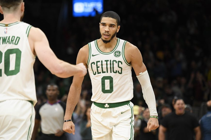 BOSTON, MA - NOVEMBER 1: Jayson Tatum #0 of the Boston Celtics celebrates after making the game winning basket against the New York Knicks on November 1, 2019 at the TD Garden in Boston, Massachusetts.  Copyright 2019 NBAE  (Photo by Brian Babineau/NBAE via Getty Images)