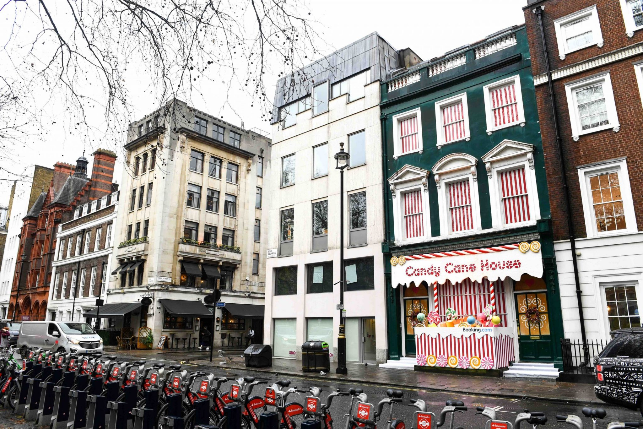 A Candy Cane House is unveiled in Soho by Booking.com, just in time for the festive period. PA Photo. Picture date: Tuesday December 17, 2019.  Photo credit : Doug Peters/PA Wire