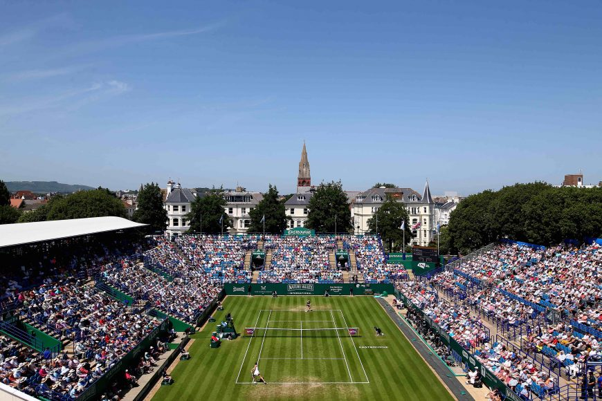 EASTBOURNE, ENGLAND - JUNE 28: A general view of the action between Kiki Bertens of Holland and Karolina Pliskova and Czech Republic during their womens singles semi final match during day five of the Nature Valley International at Devonshire Park on June 28, 2019 in Eastbourne, United Kingdom. (Photo by Charlie Crowhurst/Getty Images for LTA)