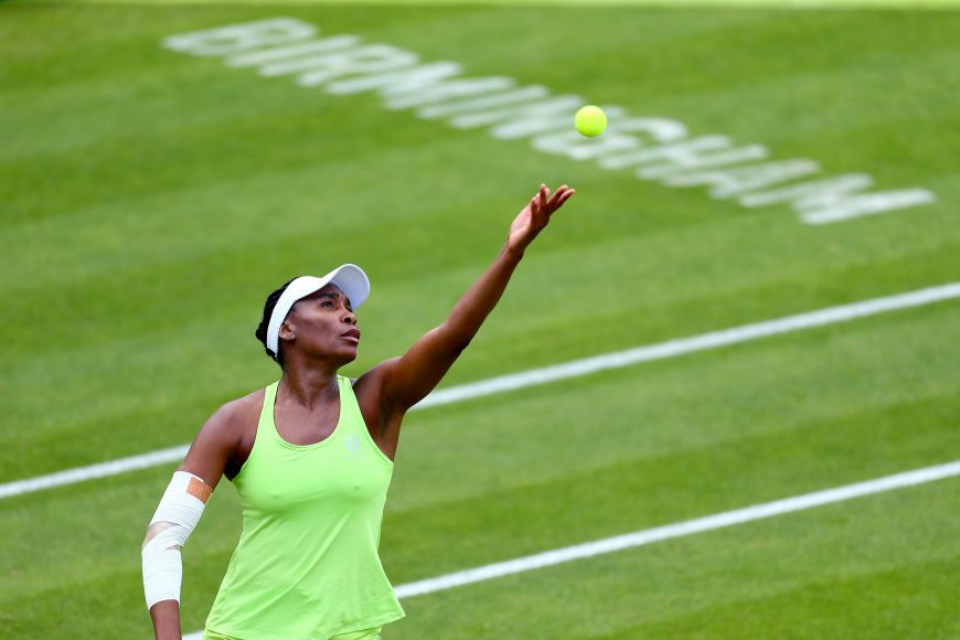 BIRMINGHAM, ENGLAND - JUNE 21: Venus Williams of the USA serves during her quarter-final match against Ashleigh Barty of Australia during day five of the Nature Valley Classic at Edgbaston Priory Club on June 21, 2019 in Birmingham, United Kingdom. (Photo by Jordan Mansfield/Getty Images for LTA)