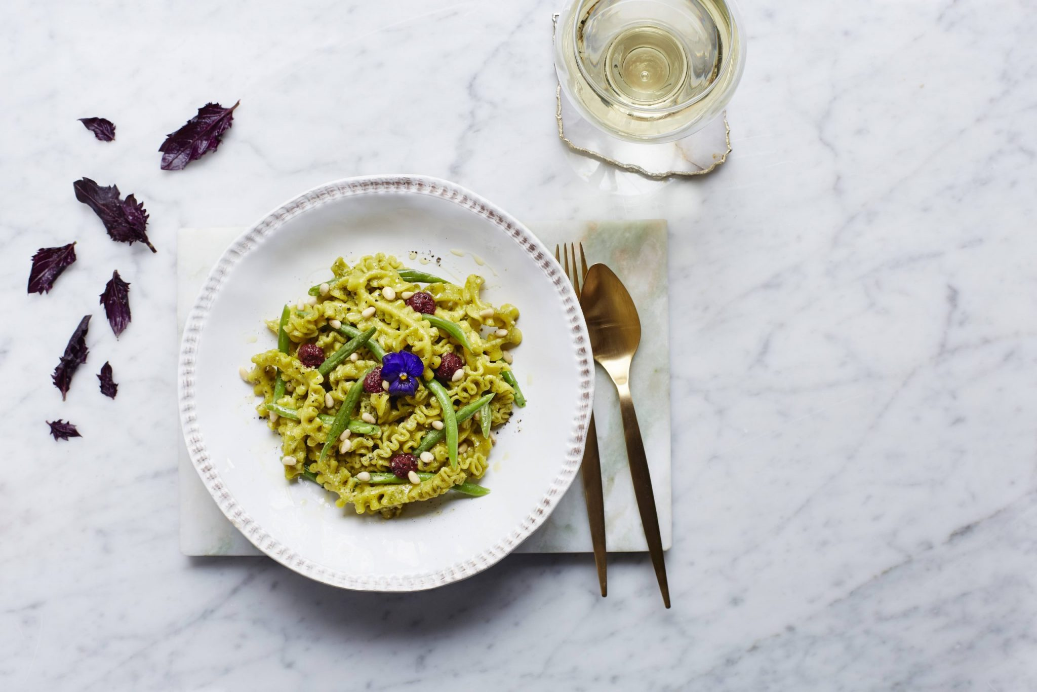 3 - PASTA - Purple Basil Pesto Genovese Fresca Frilly