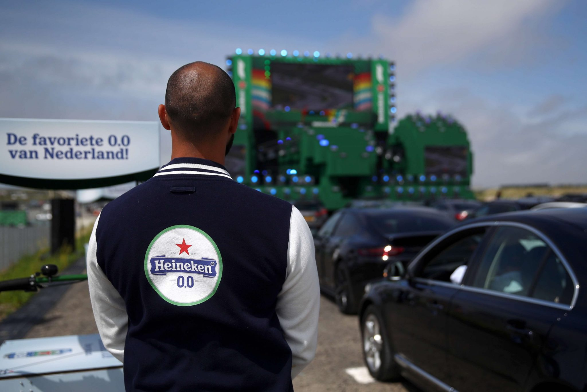 ZANDVOORT, NETHERLANDS - JULY 05: A general view as guest of Heineken® celebrate the return of F1® with a Heineken® 0.0 #NowYouCan Drive-In viewing experience of the Austrian GP, at the Circuit Zandvoort on July 05, 2020 in Zandvoort, Netherlands. (Photo by Dean Mouhtaropoulos/Getty Images)