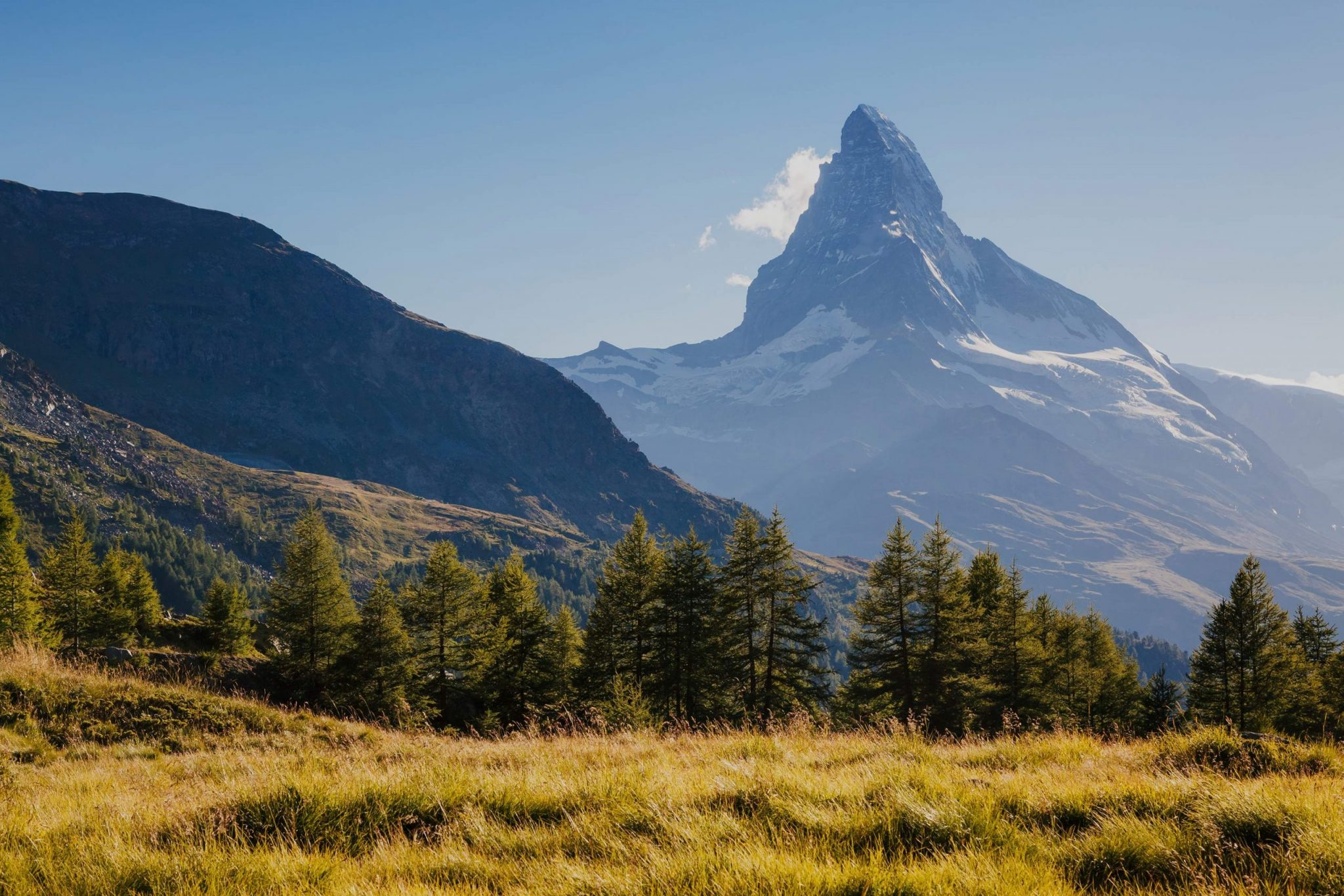 Great  panorama with famous peak Matterhorn in alpine valley. Popular tourist attraction. Dramatic and picturesque scene. Location place Swiss alps, Grindjisee, Valais region, Europe. Beauty world.