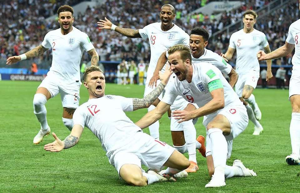 Kieran Trippier scores for England at the 2018 World Cup