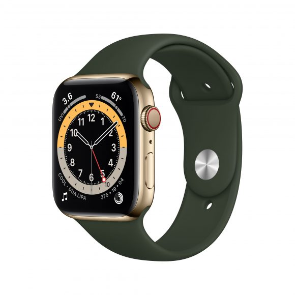 Apple_Watch_Series_6_LTE_44mm_Gold_Stainless_Steel_Cypress_Green_Sport_Band_PDP_Image_Position-1__WWEN (1)