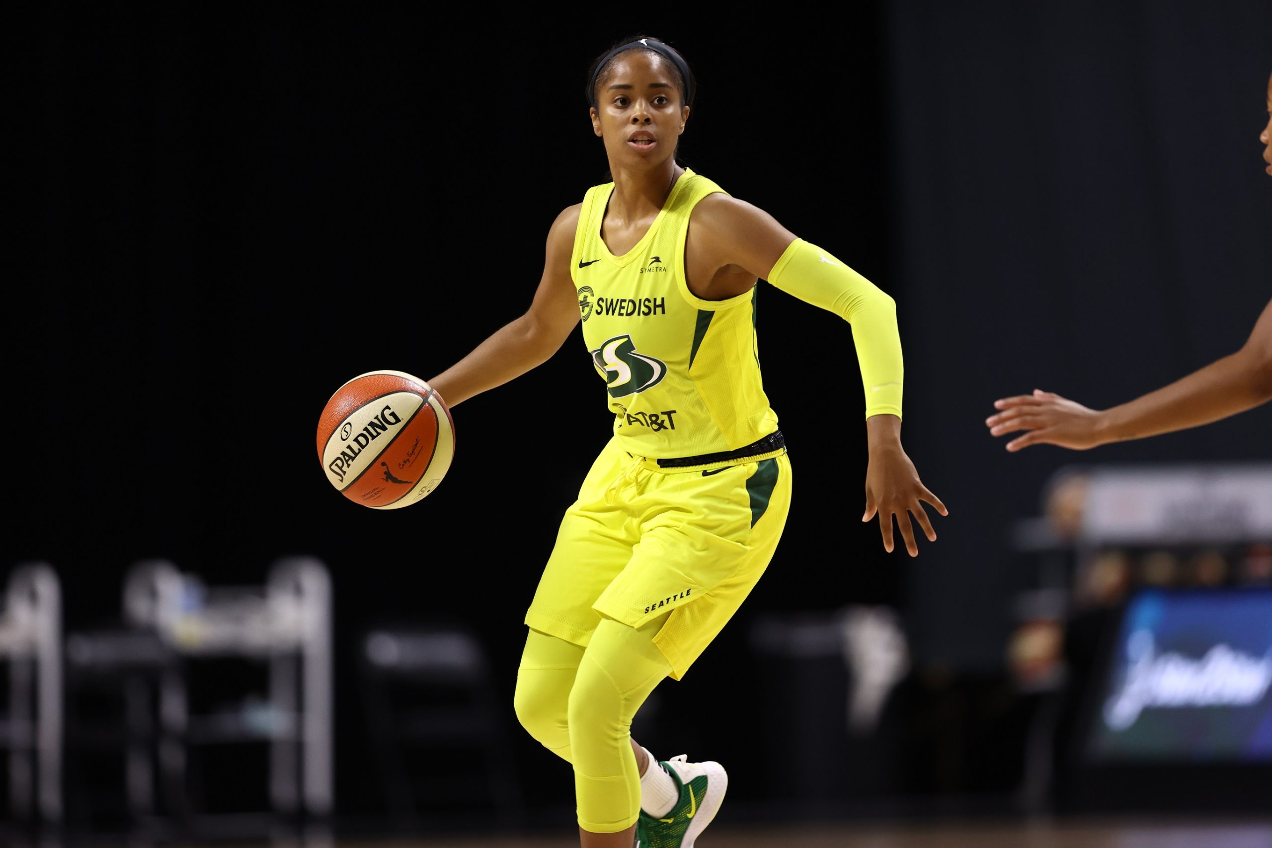 PALMETTO, FL - AUGUST 14: Jordin Canada #21 of the Seattle Storm handles the ball during the game against the Dallas Wings on August 14, 2020 at Feld Entertainment Center in Palmetto, Florida. Copyright 2020 NBAE (Photo by Ned Dishman/NBAE via Getty Images)