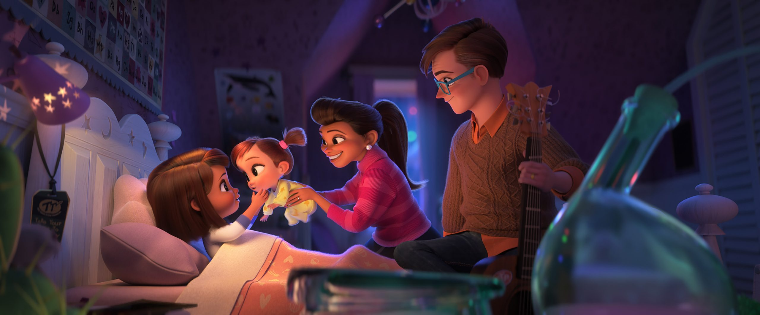 (from left) Tabitha Templeton (Ariana Greenblatt), Tina Templeton (Amy Sedaris), Carol Templeton (Eva Longoria) and Tim Templeton (James Marsden) in DreamWorks Animation's The Boss Baby: Family Business, directed by Tom McGrath.