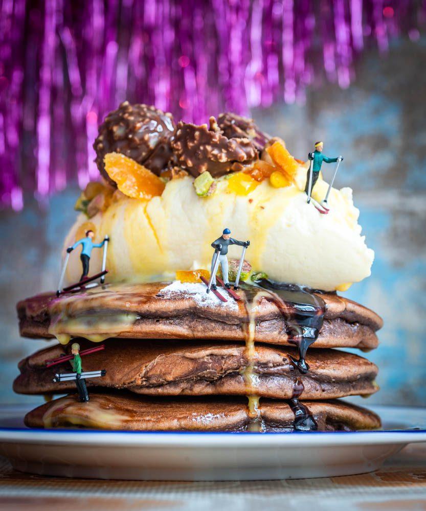 Eggnog & Chocolate Pancakes 2