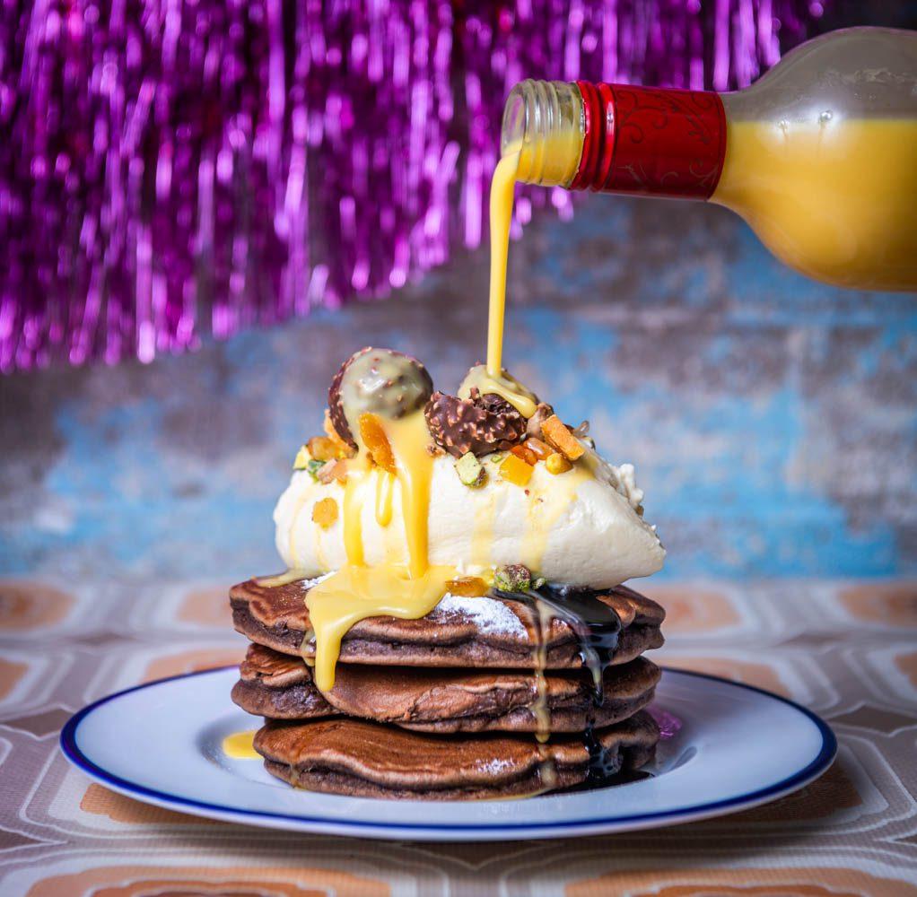 Eggnog & Chocolate Pancakes