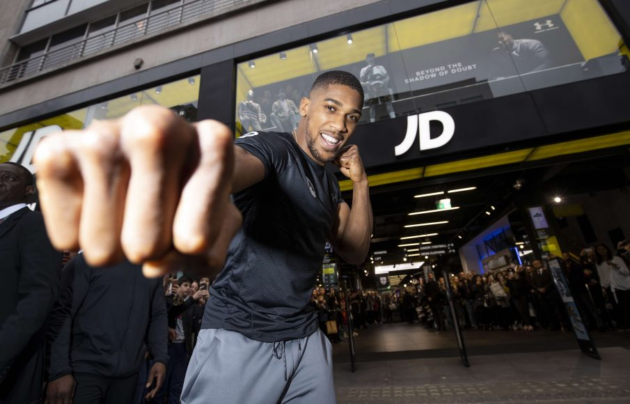 Anthony Joshua JD Sports Oxford Street. 11th April 2018. Picture By Mark Robinson