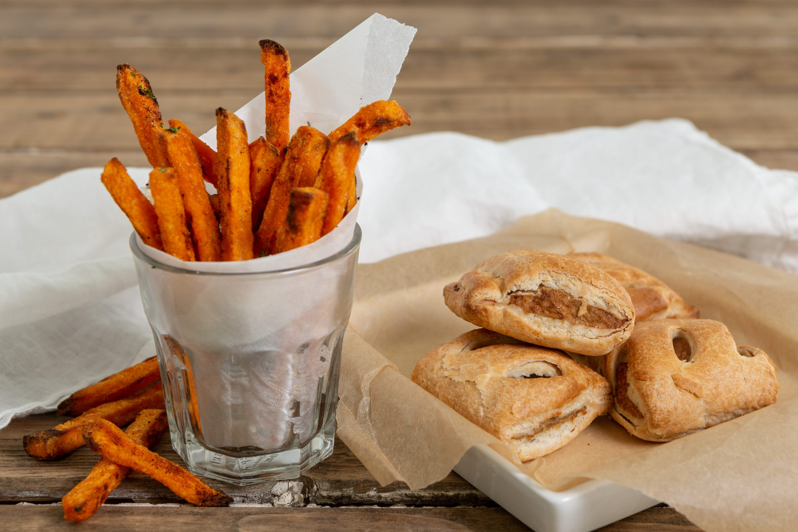 Wall's Pastry_Sweet potato fries with vegan sausage rolls