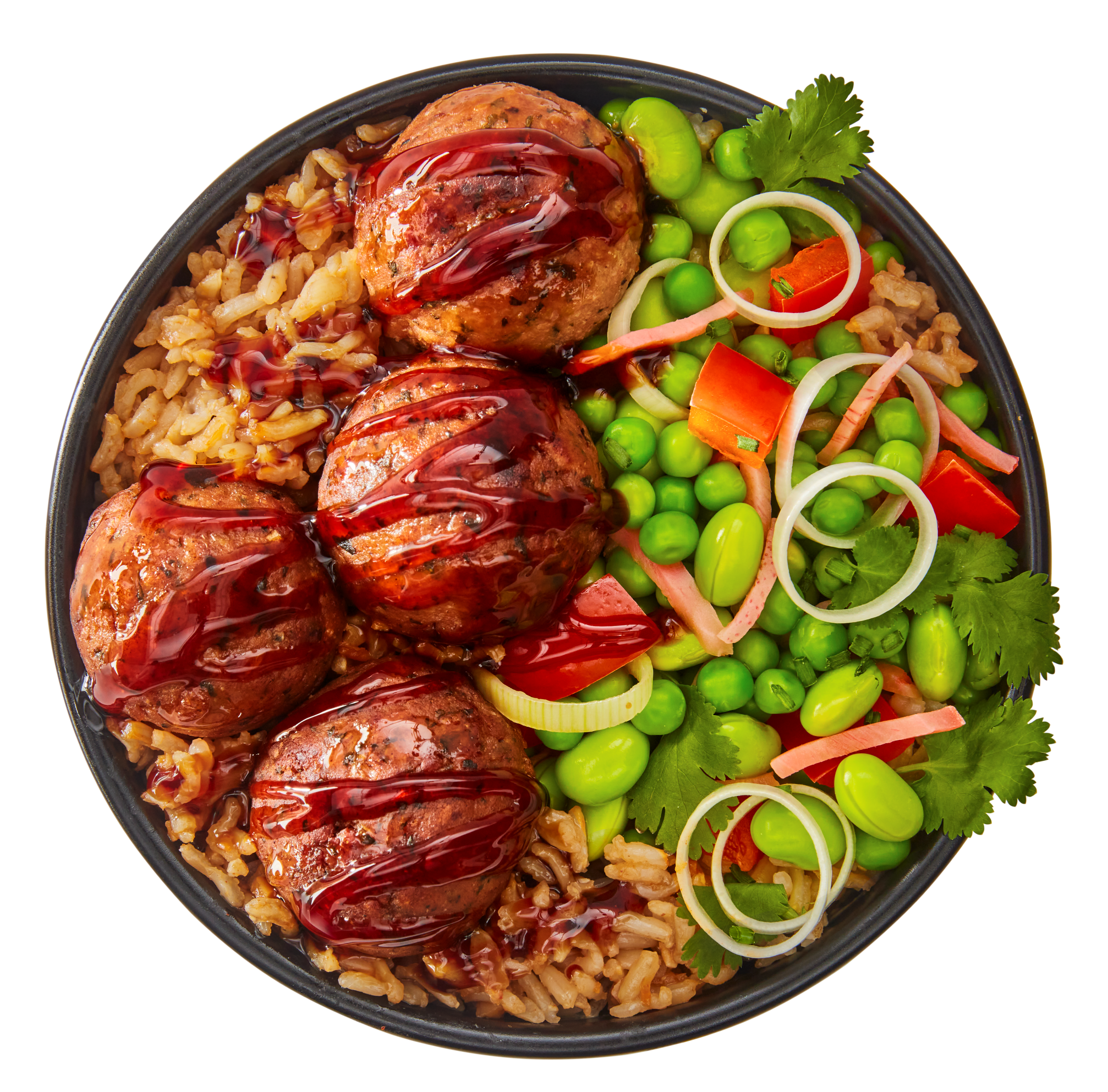 Meatless meatballs_rice bowl