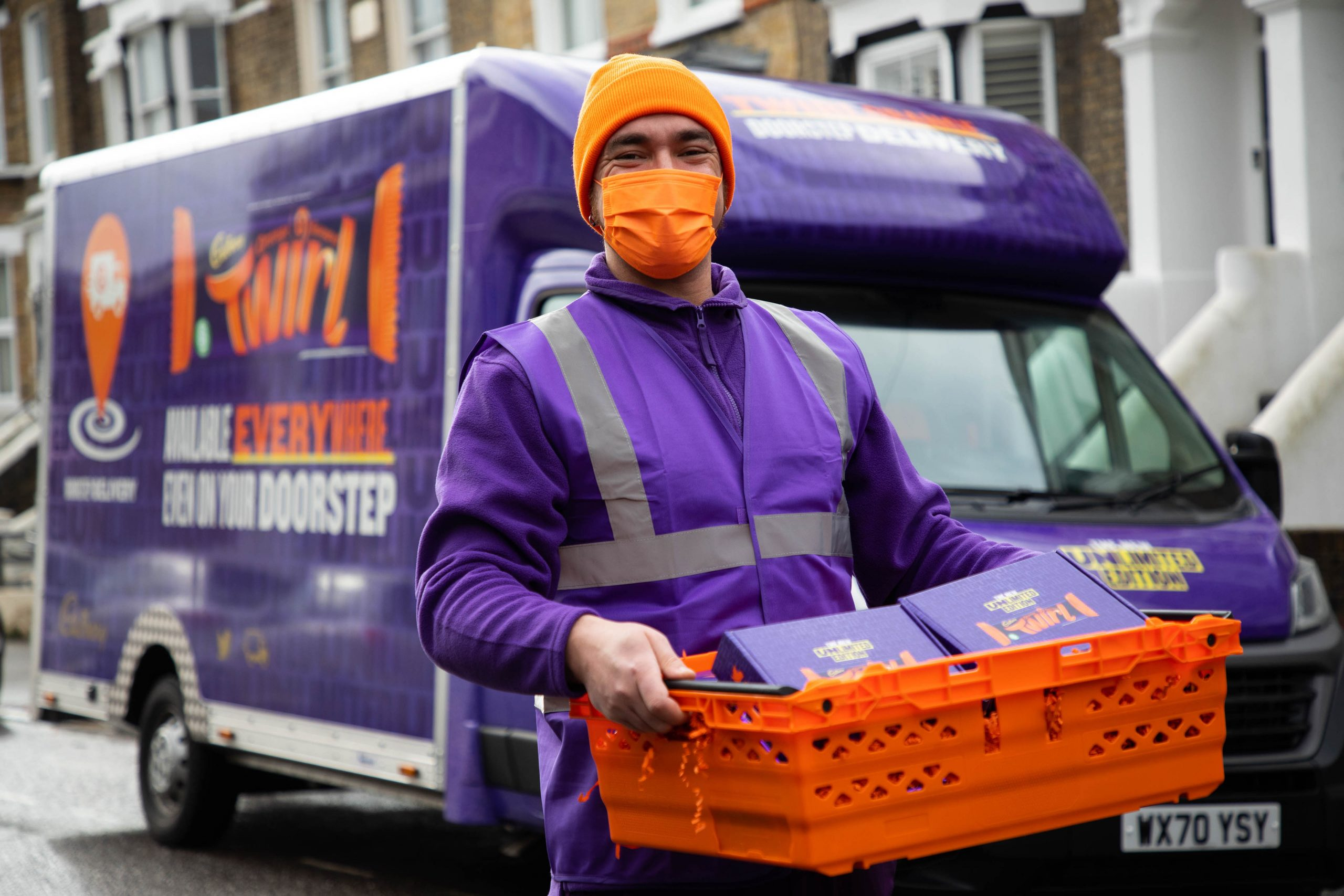 Cadbury Twirl Orange Unlimited Edition deliveries, London. PA Photo. Picture date: Monday February 15, 2021: David Parry/PA Wire