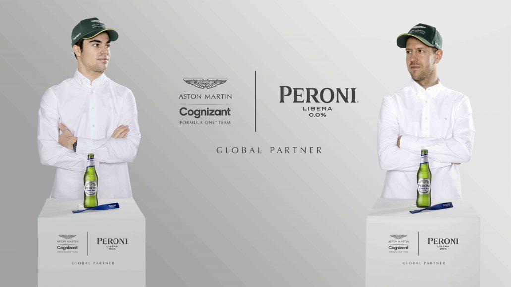 Peroni Libera 0.0% x Aston Martin Cognizant F1 - Lance Stroll & Sebastian Vettel Launch Image