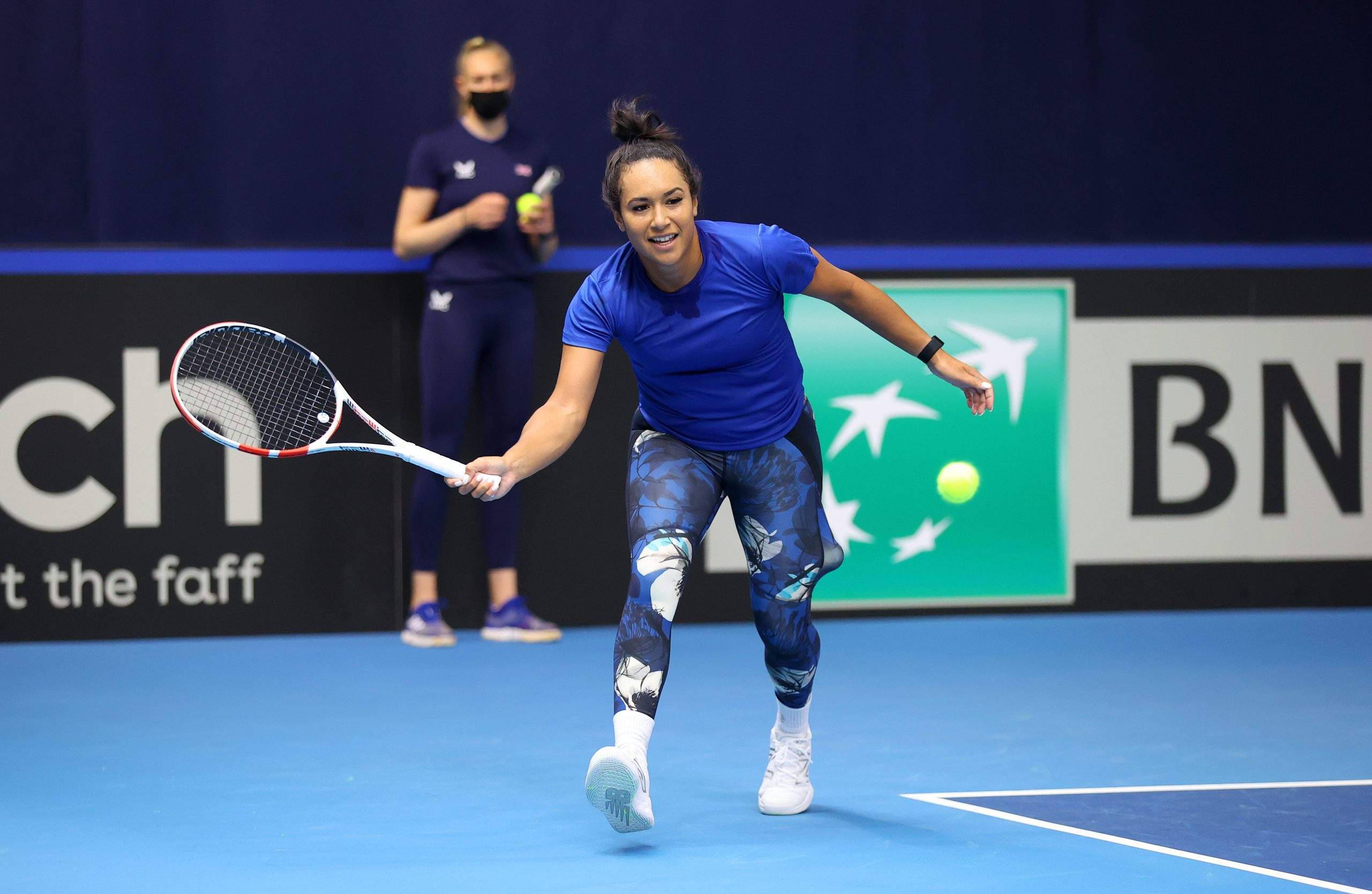 LONDON, ENGLAND - APRIL 13: Heather Watson of Great Britain plays a forehand shot during a preview day of the Billie Jean King Cup Play-Offs between Great Britain and Mexico at National Tennis Centre on April 13, 2021 in London, England. (Photo by Julian Finney/Getty Images for LTA)