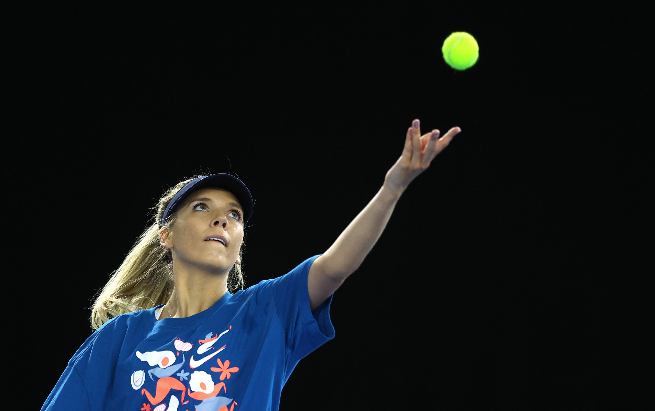 LONDON, ENGLAND - APRIL 15: Katie Boulter of Great Britain serves during a preview day of the Billie Jean King Cup Play-Offs between Great Britain and Mexico at National Tennis Centre on April 15, 2021 in London, England. (Photo by Naomi Baker/Getty Images for LTA)
