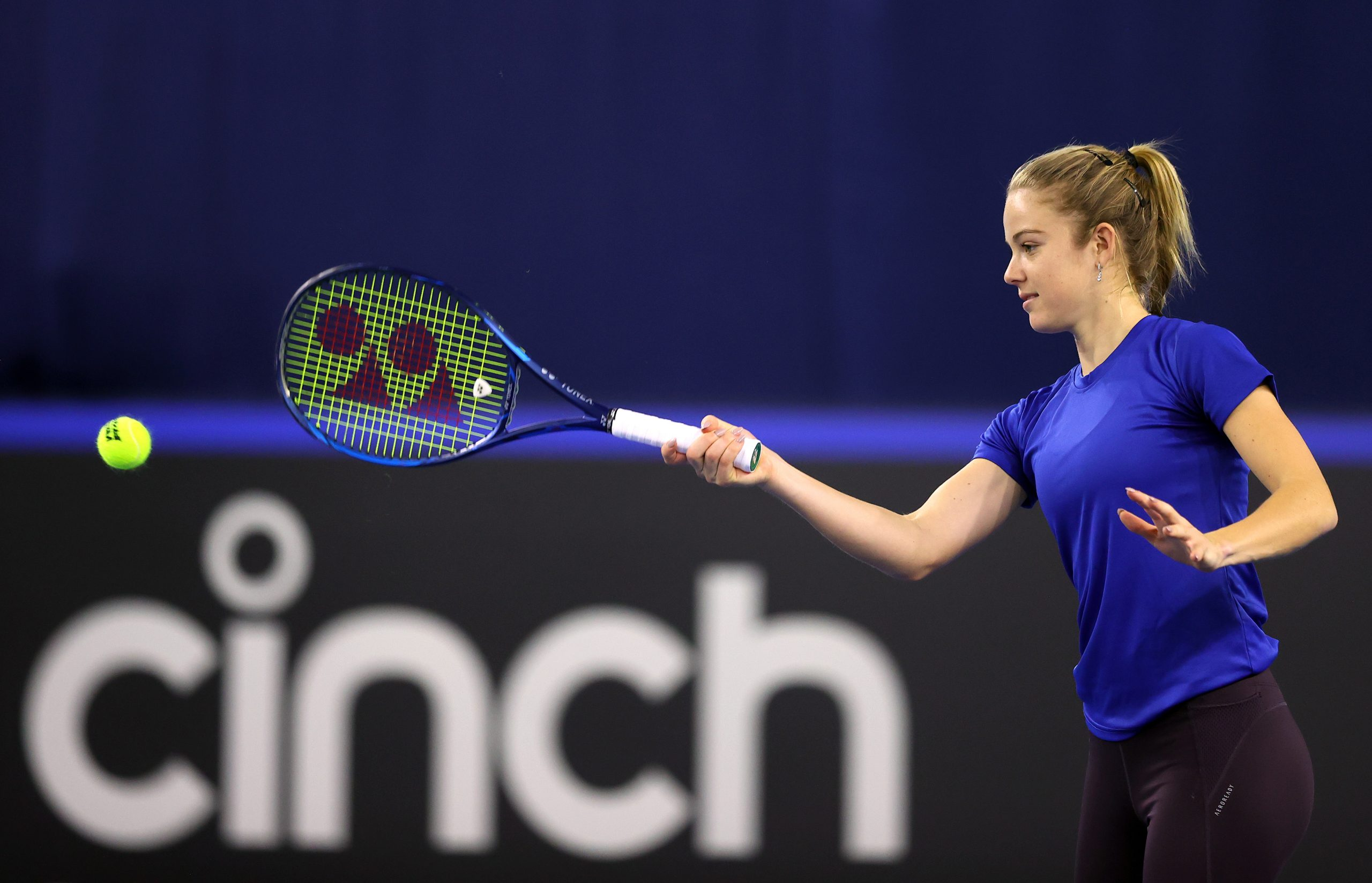 LONDON, ENGLAND - APRIL 15: Katie Swan of Great Britain plays a forehand shot during a preview day of the Billie Jean King Cup Play-Offs between Great Britain and Mexico at National Tennis Centre on April 15, 2021 in London, England. (Photo by Naomi Baker/Getty Images for LTA)