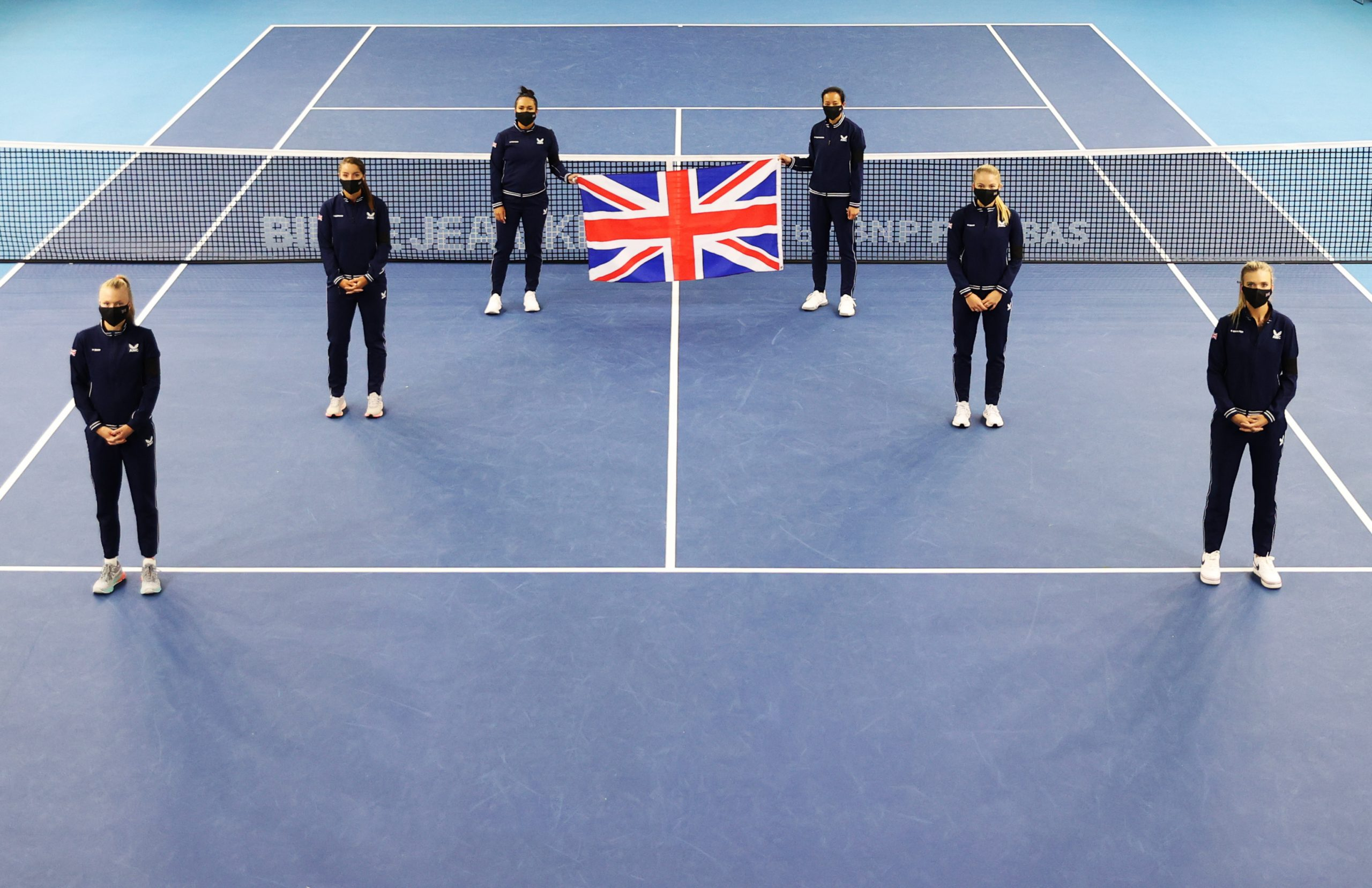 LONDON, ENGLAND - APRIL 15: Team Great Britain pose for a group shot during the draw of the Billie Jean King Cup Play-Offs between Great Britain and Mexico at National Tennis Centre on April 15, 2021 in London, England. (Photo by Naomi Baker/Getty Images for LTA)