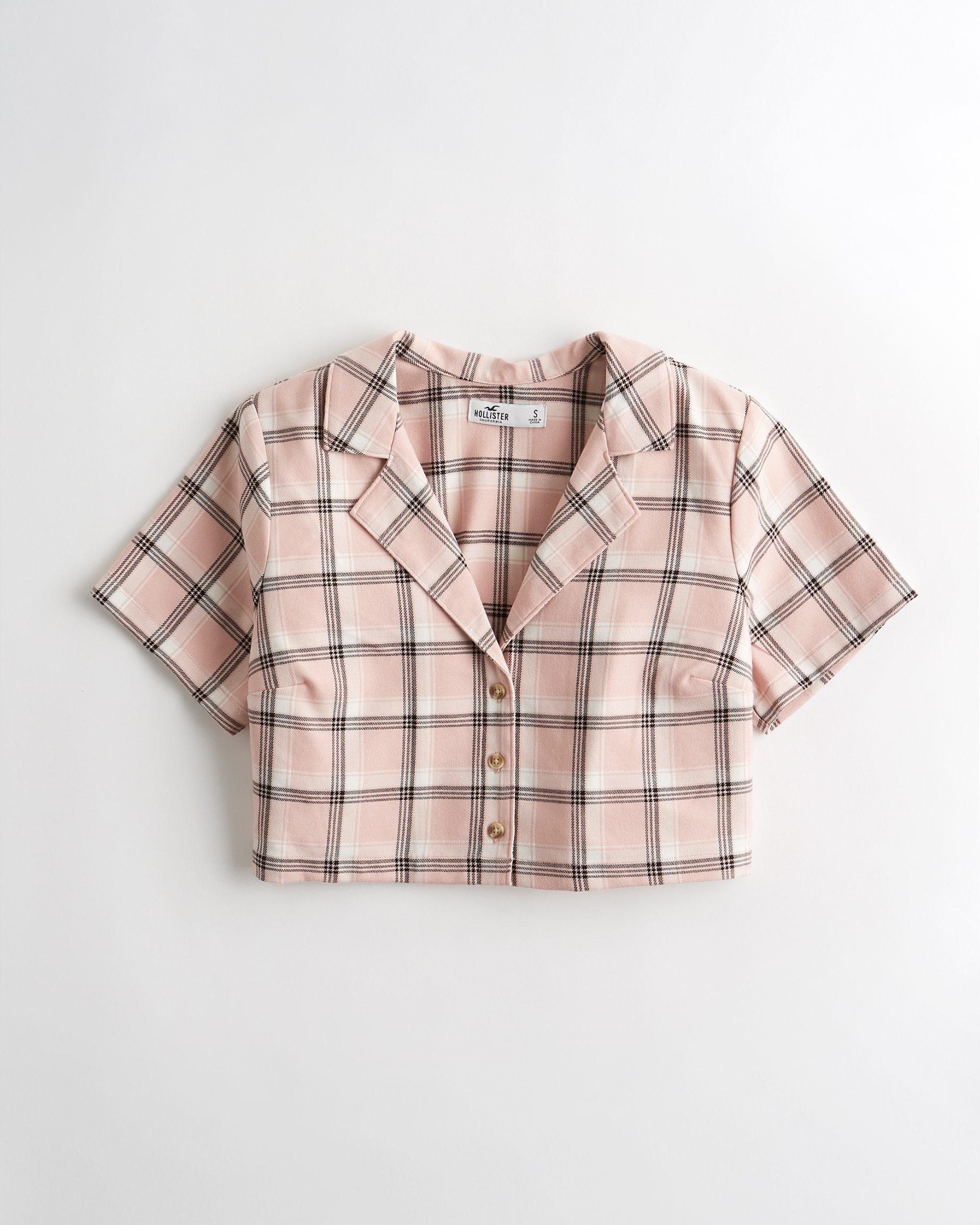 Hollister - Crop Camp Shirt (Light Pink Plaid) - £27 - www.hollisterco.com