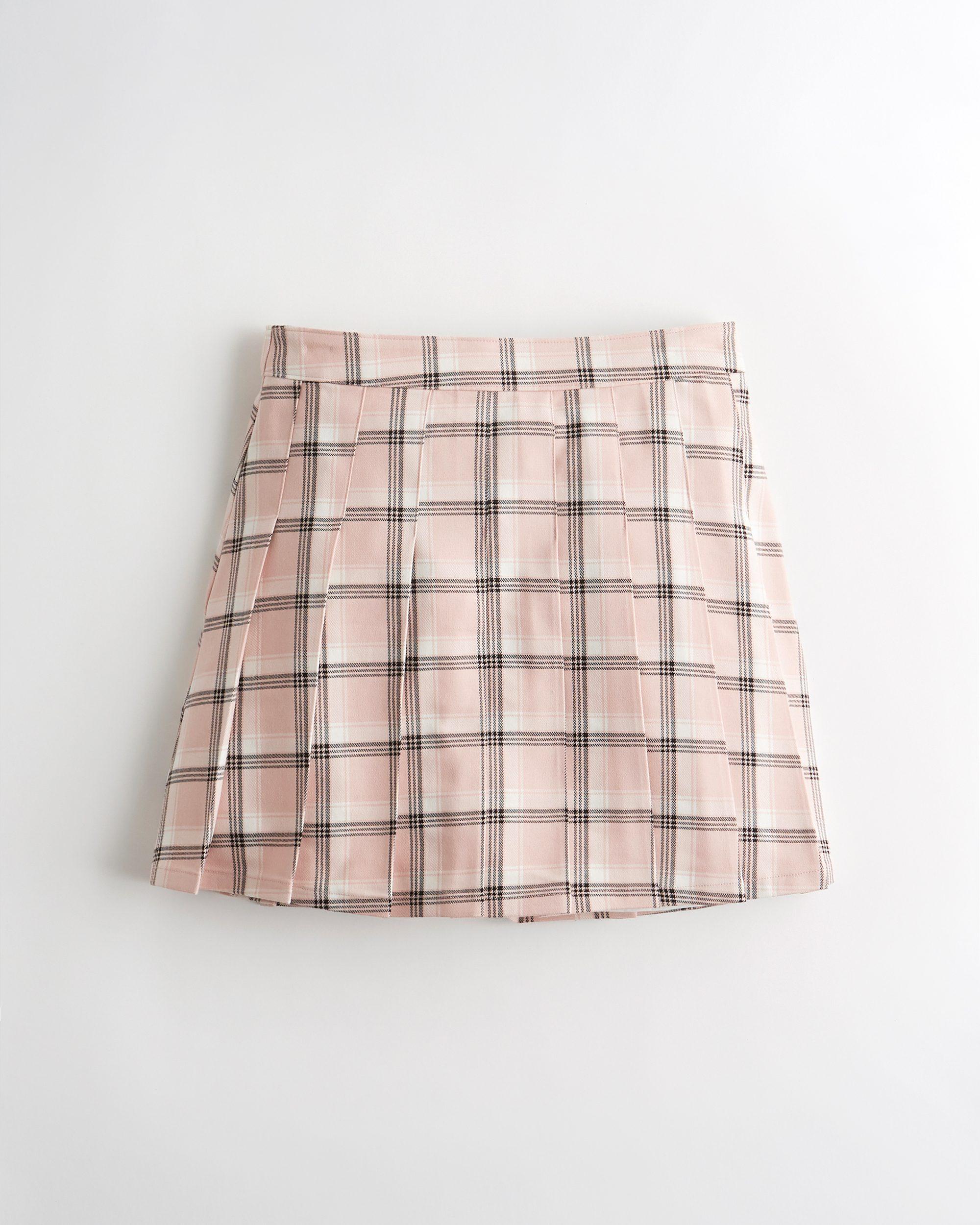 Hollister - Ultra High-Rise Pleated Mini Skirt (Light Pink Plaid) - £29 - www.hollisterco.com