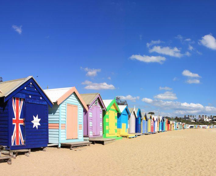 Colourful bathing boxes at Brighton Beach, Melbourne, Australia.  A Melbourne icon.