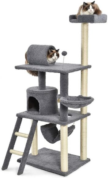 AmazonBasics Cat Condo Tree Tower with Hammock and Tunnel