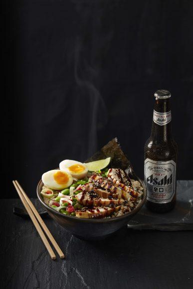 Chicken teriyaki rice_egg+beer